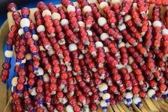 beads red Royaltyfria Bilder