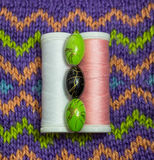 Beads and reels of thread Stock Image