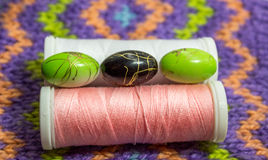 Beads and reels of thread Royalty Free Stock Photography