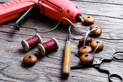 Beads and set of tools Royalty Free Stock Photo