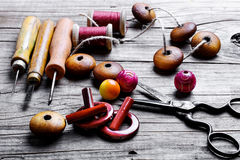 Beads and set of tools Royalty Free Stock Image