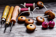 Beads and set of tools Royalty Free Stock Images
