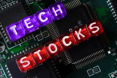 Free Beads Spelling `Tech Stocks` With IC In The Background Royalty Free Stock Image - 218368446