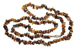 Beads of tiger's eye, isolated Royalty Free Stock Photos