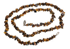 Beads of tiger's eye, isolated Royalty Free Stock Image