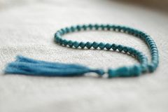 Beads of turquoise 108 items. 108 beads of turquoise for mantras and meditation Stock Image
