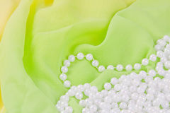 Beads from white pearls Royalty Free Stock Photo