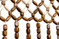 Beads. Wood bead curtain closeup Stock Photo