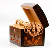 Beads in  wooden box Stock Photo