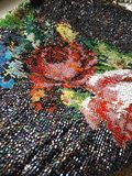 Beadwork bag with roses royalty free stock photos
