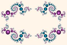 Beadwork Border. Border or frame of intricately spiraling fractal beads in magenta and turquoise against a soft ivory background vector illustration