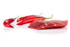 Beaf with chili pepper Stock Photos