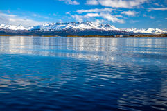 The Beagle Channel and Mountains. The mountains of Tierra del Fuego as seen from the Beagle Channel Royalty Free Stock Image
