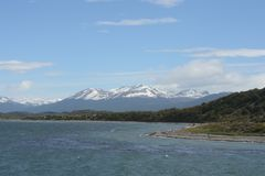 The Beagle channel separating the main island of the archipelago of Tierra del Fuego and lying to the South of the island. Stock Photo