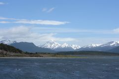 The Beagle channel separating the main island of the archipelago of Tierra del Fuego and lying to the South of the island. Stock Images