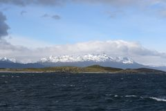 The Beagle channel separating the main island of the archipelago of Tierra del Fuego and lying to the South of the island. Royalty Free Stock Photos