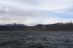 The Beagle channel separating the main island of the archipelago of Tierra del Fuego and lying to the South of the island. Royalty Free Stock Image