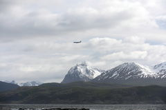 The Beagle channel separating the main island of the archipelago of Tierra del Fuego and lying to the South of the island. Royalty Free Stock Photo