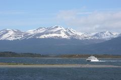 The Beagle channel separating the main island of the archipelago of Tierra del Fuego and lying to the South of the island hostos, Stock Photo