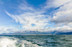 Beagle Channel, Ushuaia, Argentina. Mountains with a cloudy sky in Beagle Channel, Ushuaia, Argentina stock photography