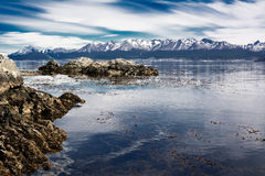 Beagle channel and Ushuaia in background Argentina Royalty Free Stock Images