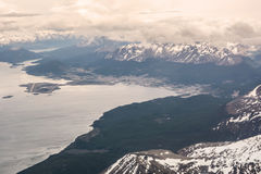 Beagle channel and Ushuaia seen from airplane Stock Image