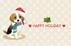 Beagle dog with holiday message Royalty Free Stock Image