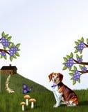Beagle och kabin på kullen Arkivfoto