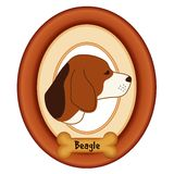 Beagle Portrait, Dog Bone Pet Tag, Wood Frame Royalty Free Stock Images