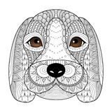 Beagle szczeniaka kreskowa sztuka dla kolorystyki książki dla dorosłego, koszulka projekt, tatuaż i w ten sposób dalej ilustracji