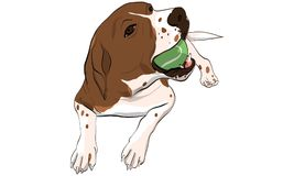 beaglehund som spelar tennisbollen royaltyfri illustrationer