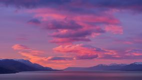 Beaglekanal Ushuaia Soluppgång Soluppgång arenaceous Juli 2014 Arkivfoto