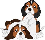 Beagles lindos de la historieta stock de ilustración