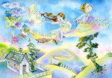 beak dekoracyjnego latającego ilustracyjnego wizerunek swój papierowa kawałka dymówki akwarela Obrazy Royalty Free