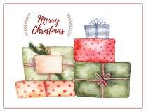 beak dekoracyjnego latającego ilustracyjnego wizerunek swój papierowa kawałka dymówki akwarela Dekoracyjna kartka bożonarodzeniow ilustracja wektor