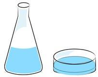 Beaker and petri dish royalty free illustration