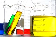 Beakers. Scientific beakers filled with colored liquid Royalty Free Stock Images