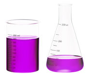 Beakers. High detailed illustration of science glasses with liquid royalty free stock photography