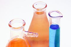 Beakers in a laboratory Stock Photo