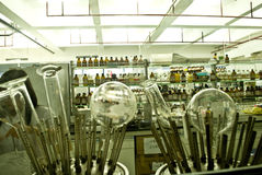 Beakers and laboratory Stock Photo
