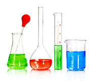 Beakers and laboratory glassware Royalty Free Stock Photos