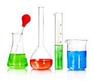 Beakers and laboratory glassware Royalty Free Stock Photos
