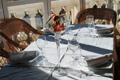 Beakers on the table. With a white tablecloth Royalty Free Stock Image