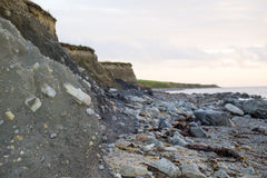 Beal beach cliffs after a storm Royalty Free Stock Image