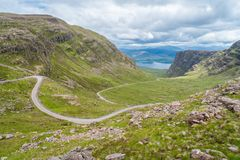 Scenic sight at Bealach na Ba viewpoint, in Applecross peninsula in Wester Ross, Scottish Higlands. Bealach na Bà is a winding, single track road through the Stock Photos