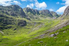 Scenic sight near Bealach na Ba viewpoint, in Applecross peninsula in Wester Ross, Scottish Higlands. Bealach na Bà is a winding, single track road through the Stock Photo