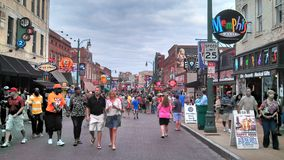 Beale Street, Memphis. Beale Street on a busy summer evening Stock Photo