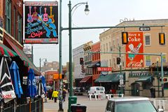 Beale Street, Memphis. Street signs and venues on the famous music and blues Beale Street in Memphis, Tennessee Royalty Free Stock Photography