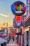Beale Street Memphis Tennessee. MEMPHIS, TENNESSEE - AUGUST 25, 2017: Blues Clubs on historic Beale Street at twilight Stock Photos