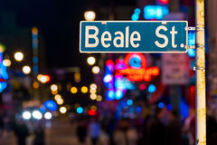 Beale street sign. With blur background in Memphis Stock Photo